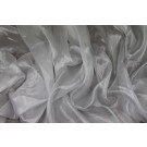 Foil Printed Silk Chiffon - Silver on White