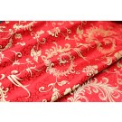 Chinese Brocade - Red/Gold Peacock Feather and Carnation