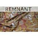REMNANT: Heavy Swirl Embroidered Dupion - Red Gold and Grey - WHOLE PIECE 1.15m