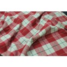 Red and Soft Green Large Blanket Check Wool