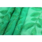 Embroidered Applique Leaf on Green Silk Georgette