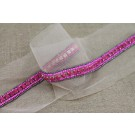 Narrow Beaded Diamante Trim in Pink