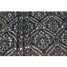 Embossed Viscose Velvet - Black with Orange and Gold Foil