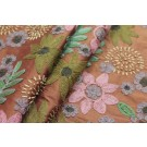 Ethnic Style Floral Embroidery - Rust