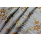 Floral Embroidered Silk Dupion - Dusty Blue