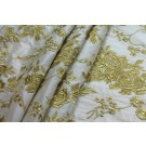 Gold Floral Embroidery on Ivory Silk Dupion