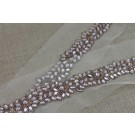 Floral Diamante and Metal Work Trim - Gold