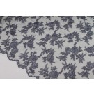Corded Embroidered Floral Tulle - Mid Grey - Double Scallop