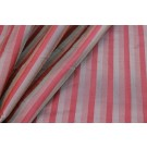 Wide Striped Silk Dupion - Red Mauve