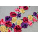 Embroidered Rose Trim - Red Yellow Purple Pink