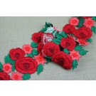 Embroidered Rose Trim - Red and Green