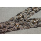 Zari Work Metallic Trim - Floral Gold, Copper & Brown