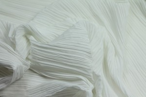 Pleated Polyester Chiffon - Ivory