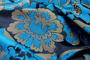 Silk Brocade - Black, Gold and Turquoise