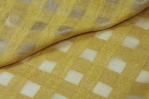 Checked Semi Sheer Matka - Yellow
