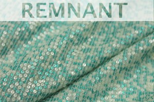 REMNANT - Micro Sequin On Silk Chiffon - Mint and Aqua - 1.8m piece