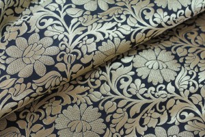 Black and Gold Metallic Floral Brocade