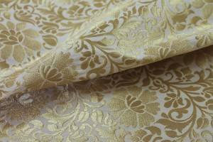 Ivory and Gold Metallic Floral Brocade