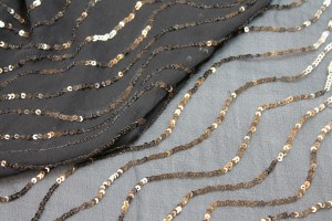 Sequin Squiggle Lines - Brown on Brown