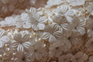 3D Flower and Sequin Applique on Tulle - Minky Oyster