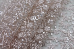 Sequinned and Embroidered Flowers on Tulle - Blush