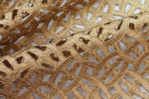 Deep Gold Embroidered Cut Out Fabric