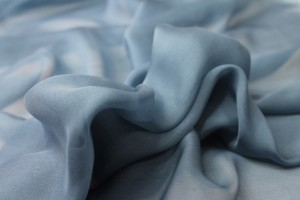 Smoky Blue Silk Chiffon