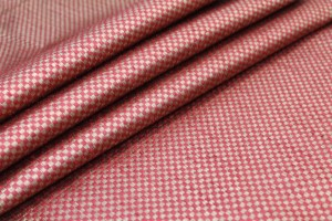 Red and Gold Small Check Brocade