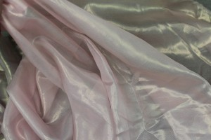 Foil Printed Silk Chiffon - Gold on Pale Pink