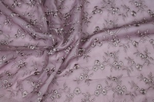 Cute Embroidered Floral Scalloped Tulle - Mauve