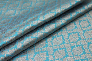 Teal and Gold Ornamental Brocade