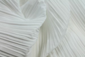 Pleated Polyester Chiffon - White