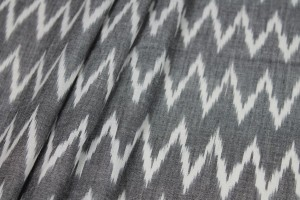 Light Weight Cotton Ikat - Charcoal and White