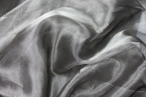 Silk Organza - Metallic Silver/Black