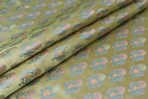 Soft Banaras Brocade - Pale Green, Blue and Salmon