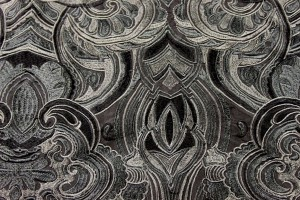 Heavy Swirl Embroidered Dupion - Charcoal