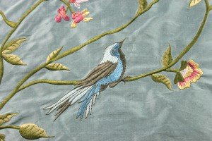 Bird Embroidery - Pale Blue
