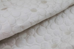 Quilted Silk Dupion - Ivory Circles