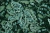 Green floral lace with white round and bugle beads, white round sequins and metallic silver embroidery