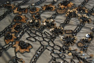 Black and Gold Floral Embroidered Chiffon