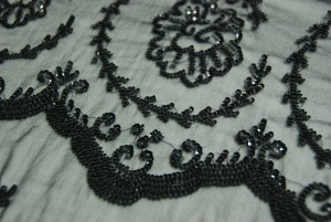 Black Chiffon with Black Micro Sequin Floral Pattern