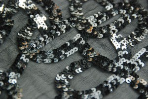Black and silver micro sequin swirls on chiffon