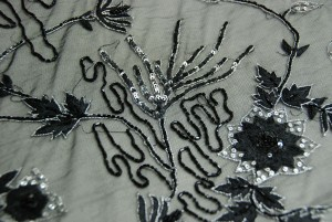 Black floral embroidered tulle with sequins and beading