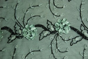 Black tulle cream embroidery apple green flower ribbons black sequins and beading