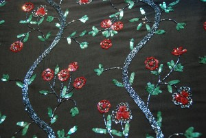 Black Floral Beaded Chiffon