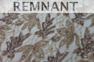 REMNANT - Beaded and Sequinned Lace in Coffee - 1.3m piece