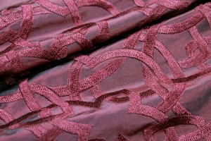 Geometric Embroidered Silk Taffeta - Deep Red