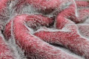 Faux Fur - Ivory Tipped Pink and Red