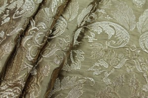 Heavy Jacquard Style Embroidery - Gold metallic