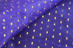 Silk Organza - Purple with Gold Spots